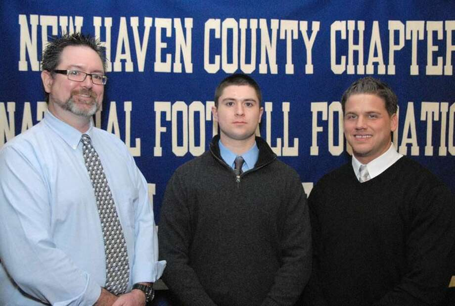 Photo by Bill O'Brien Sheehan's Brodie Corless, shown with father Patrick (left) and coach John Ferrazzi, will be among the 29 high school and prep school scholar athletes that will be honored at the 52nd Gene Casey New Haven County Chapter of the National Football Foundation and College Hall of Fame Scholar Athlete dinner.