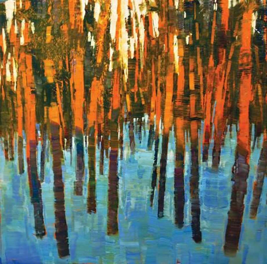 "Submitted Photo ""Sunset Pines off Chestnut Hill,"" oil on copper, 18"" x 18"", by David Dunlop."