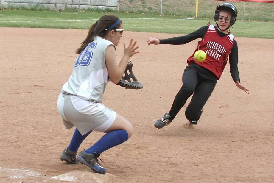 Photo by Russ McCreven The Sacred Heart Academy softball team rallied for a 2-1 victory over West Haven last Friday.