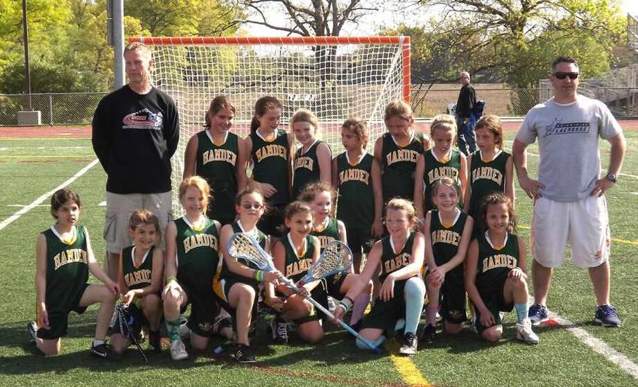 Submitted photo The Hamden Bantam girls' youth lacrosse team won all five games it played in a jamboree last Sunday in Branford. Team members (bottom row, from left to right) are: Katie Gould, Addy Twohill, Colby Sullivan, Keegan Bailey, Jadyn Zitser, Erin McKiernen, Ally Ferraro, Claire Christie, Gianna Asbury; (standing, from left to right): coach Ted Kennedy, Emmalee Ianniello, Shannon Kennedy, Cassidy O'Connor, Nina Zaengel, Megan Quinn. Mia Celentano, Amanda Kane, and coach Jonathan Bailey.