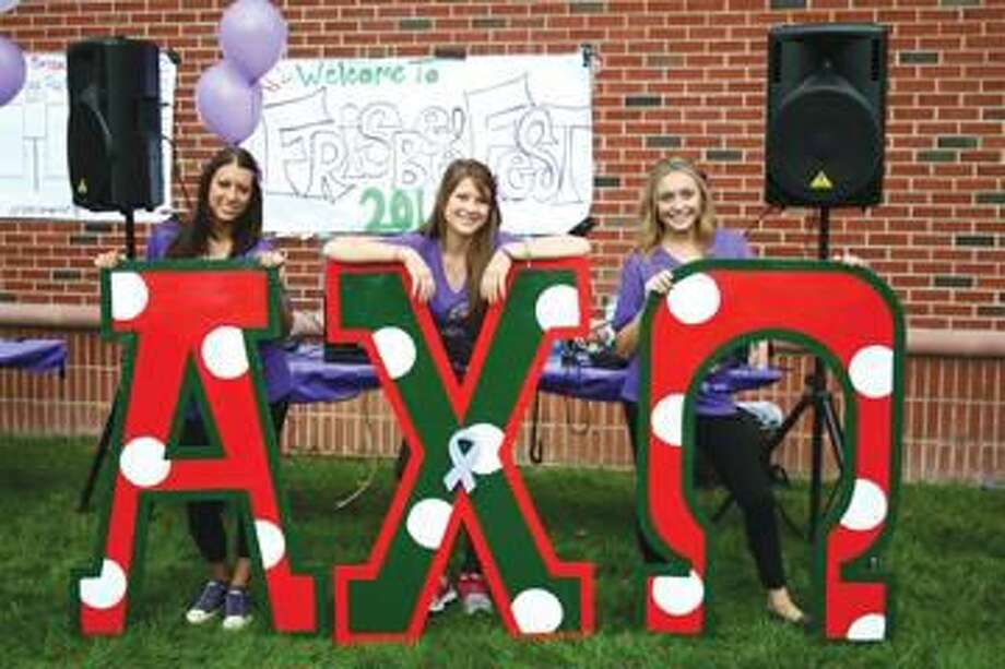 Submitted Photo Members of Alph Chi Omega Sorority at last year's Frisbee Fest.