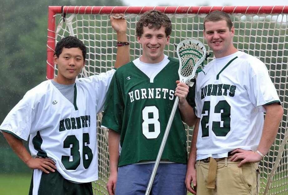 Hamden—Hamden Hall lacrosse captains, left to right: Austen Kim, Dennis Hicks and Jason Cimino. Peter Casolino/New Haven Register