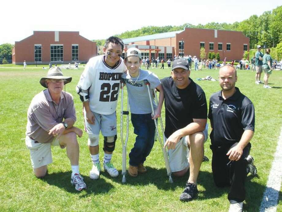Submitted Photo From left to right: Hopkins coach Sandy MacMullen, Andrew Nitirouth, Jordan Jacques, Hamden Hall coach Anthony Raccio, and Assistant Coach Kiernan Griffin.