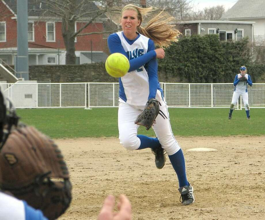 Submitted photo North Haven's Jennifer Cruver fires a pitch for the Salve Regina University softball team.