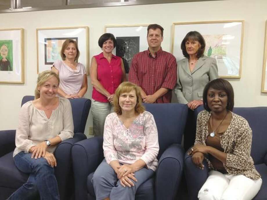 Submitted Photo Hamden teachers front row from left: Mary Nelson of Church Street School, Paula Robinson of Hamden Middle School and Carlean Dease of Ridge Hill School; back row: Lisa Kingston of Bear Path School, Mary Dunn of Bear Path School and David Hubbard of Hamden Middle School, along with Beth Larkins-Strathy, associate dean of the School of Education at Quinnipiac University.