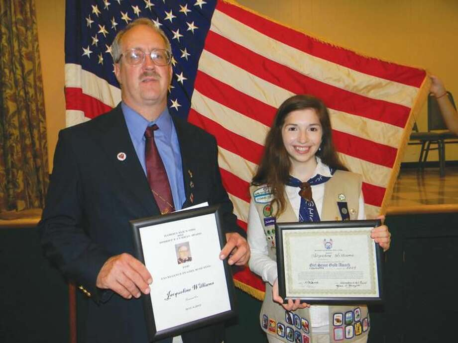 Submitted Photo Exalted Ruler Carl Gorman and Curran Award recipient Jacqueline Williams.