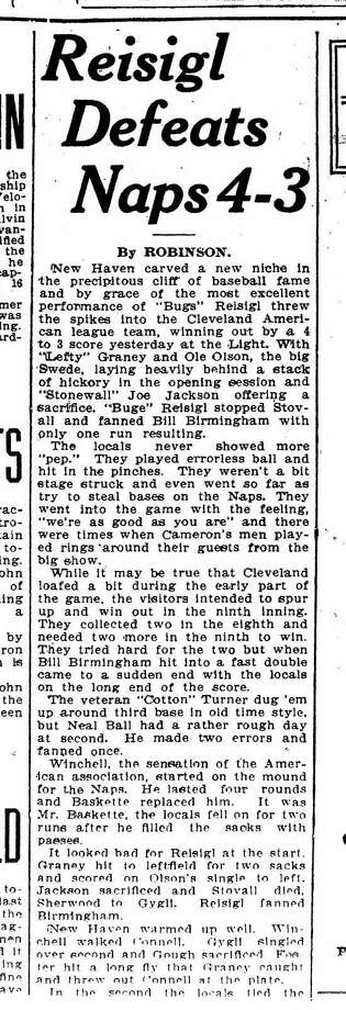 A copy of the story on Joe Jackson's game in New Haven.