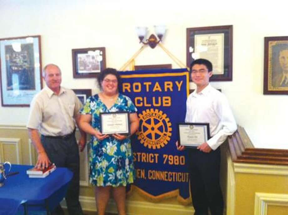 Submitted Photo Rotarian Richard Asklar is shown with Jennifer Pilchik and David Hu.