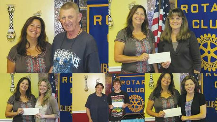 Collage courtesy of David Marchesseault, Rotary PR Chairman Top left to right: Theresa Ranciato-Viele presented a check to the Rotary club's foundation treasurer, Harold Ginter; Viele then gave a check to Claudia Giulietti for the Friends Committee for Children; (bottom left to right) Karen Lenahan from Eli Whitney Museum received a donation for scholarships; President-Elect Debbie Volain, donated to Project Graduation's Mark Weston; and Kate Nichols of Soul Friends expressed her gratitude.