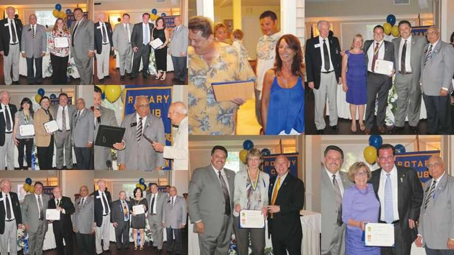 Collage courtesy of David Marchesseault, Rotary PR Chairman The North Haven Rotary Club awarded an unprecedented one dozen Paul Harris Fellowships this summer.