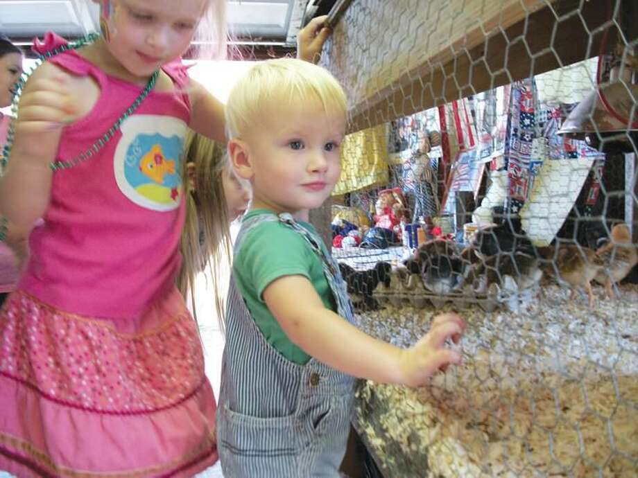 Photo by Lynn Fredricksen Burke Chordas, 18 months, and his sister Quinn, 4, both of Wallingford, enjoyed visiting with the newly hatched chicks at Old McDonald's Farm. The farm has been a longtime favorite exhibit at the North Haven Fair.