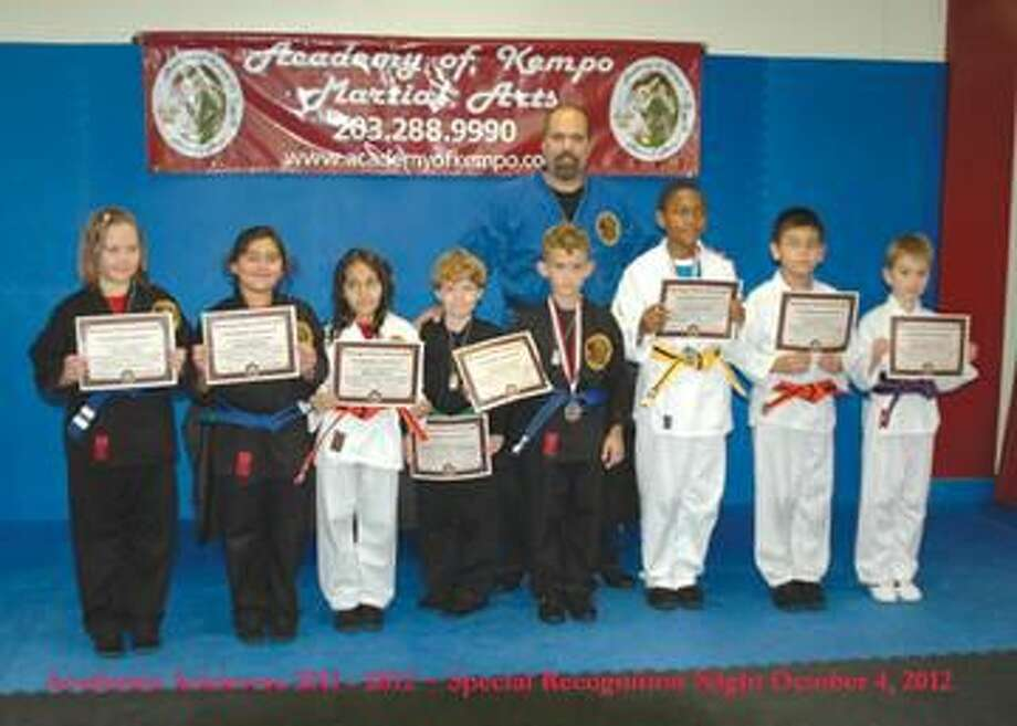 Submitted Photo Congratulations to our first annual Academy of Kempo Martial Arts Academic Achievers for the 2011 - 2012 school year: Pictured (Left to Right), Julia Voinov, Imaan Masood, Heidi Oyuela, Gabriel Ciarleglio, Oliver Stevens, Elijah Blocker, Carlos Oyuela and Benjamin Arnold with Shihan Frank Ciarleglio.