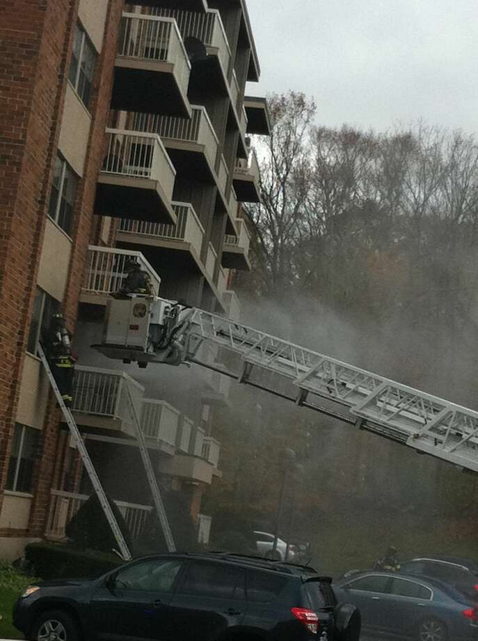 Firefighters are battling a blaze Tuesday at an aparment complex in Hamden. Contributed photo
