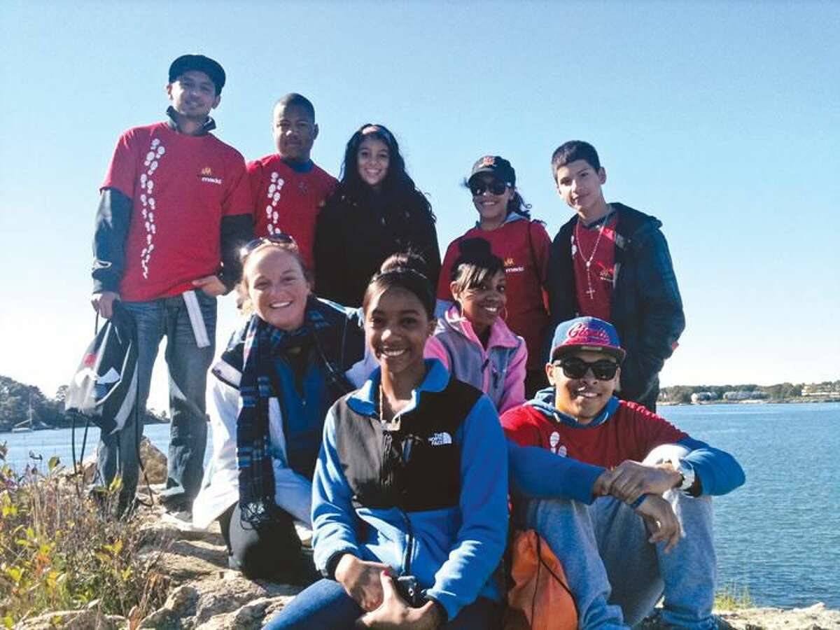 Submitted Photo Pictured are members of Hamden High School's SADD Club: Ossama Awan, Brandon King, Sara Beltran, Victoria Almodovar, Marc Santiago, Kyreisha Raphael, Lindon Cummings, Mary Ann Staggers and Jennifer Kendall, SADD advisor.
