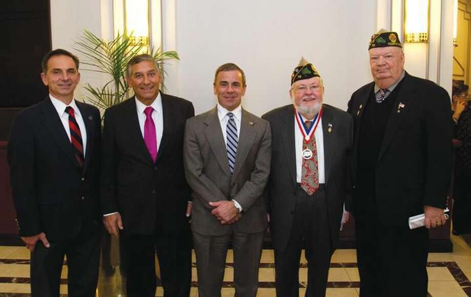 Submitted Photo Left to right, Rep. David Yaccarino; Sen. Len Fasano; Mayor Mike Freda; Charles Morrissey, Veterans Hall of Fame inductee; and Daniel Riccio Jr., Cmdr. American Legion Post 76.