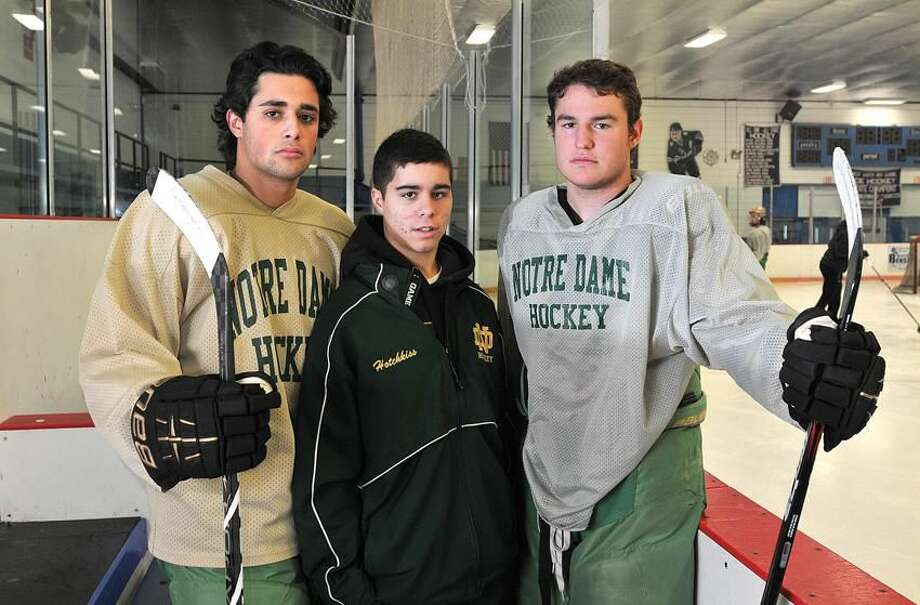 West Haven— Notre Dame of West Haven Hockey Captains Greg Zullo, Cam Hotchkiss and Kyle Thibault. Photo-Peter Casolino 12/06/2012