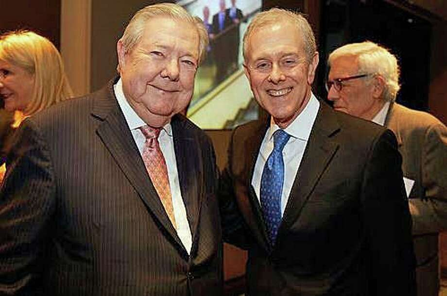 Frank Bennack, left, executive vice chairman and former CEO of Hearst, and Steven R. Swartz, president and CEO of Hearst, at a launch party for Bennack's memoir at Hearst Tower in New York on Monday, Oct. 14, 2019. Photo: Studio D Photo