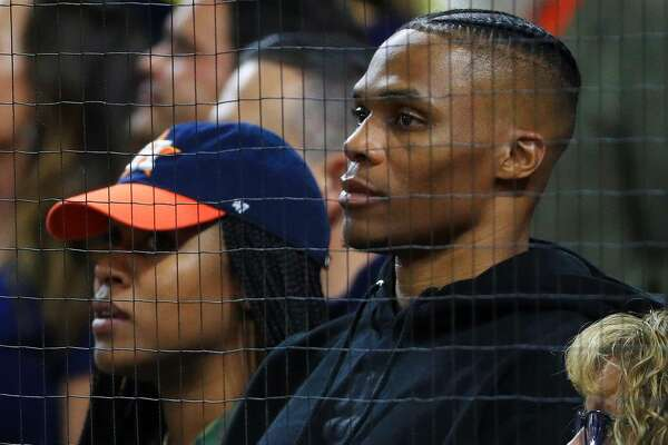 HOUSTON, TEXAS - OCTOBER 13: NBA player Russell Westbrook of the Houston Rockets attends game two of the American League Championship Series between the Houston Astros and the New York Yankees at Minute Maid Park on October 13, 2019 in Houston, Texas. (Photo by Mike Ehrmann/Getty Images)