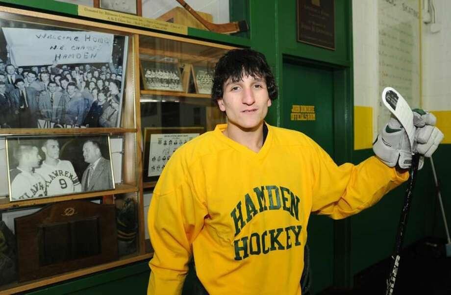 Hamden High School hockey team captain Billy Reilly at Astorino Rink in Hamden. January 17, 2013. Photo by Peter Hvizdak / New Haven Register