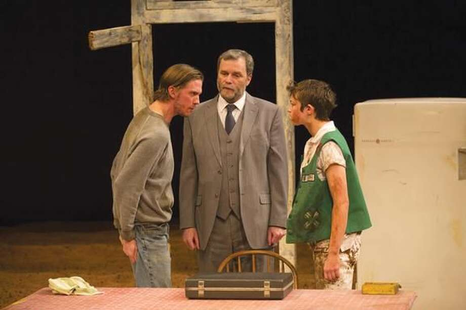 """Submitted Photo by T. Charles Erickson Peter Albrink, John Procaccino and Elvy Yost perform in """"Curse of the Starving Class."""""""