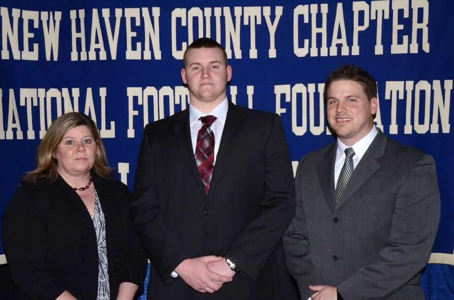 Photo by Bill O'Brien Sheehan's Sean Merrill, shown with mother Keira and coach John Ferrazzi.
