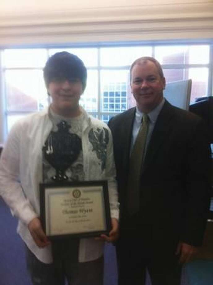 Submitted Photo Hamden High School student Thomas Wyant was the recipient of the March Student of the Month Award. Pictured here is Rotarian Paul Murray and Thomas. Also recognized (not pictured) was January Student of the Month Chelsea Martin and February's Student of the Month Selena Joyner.Congratulations to all for their dedication to their community and leadership amongst their peers.