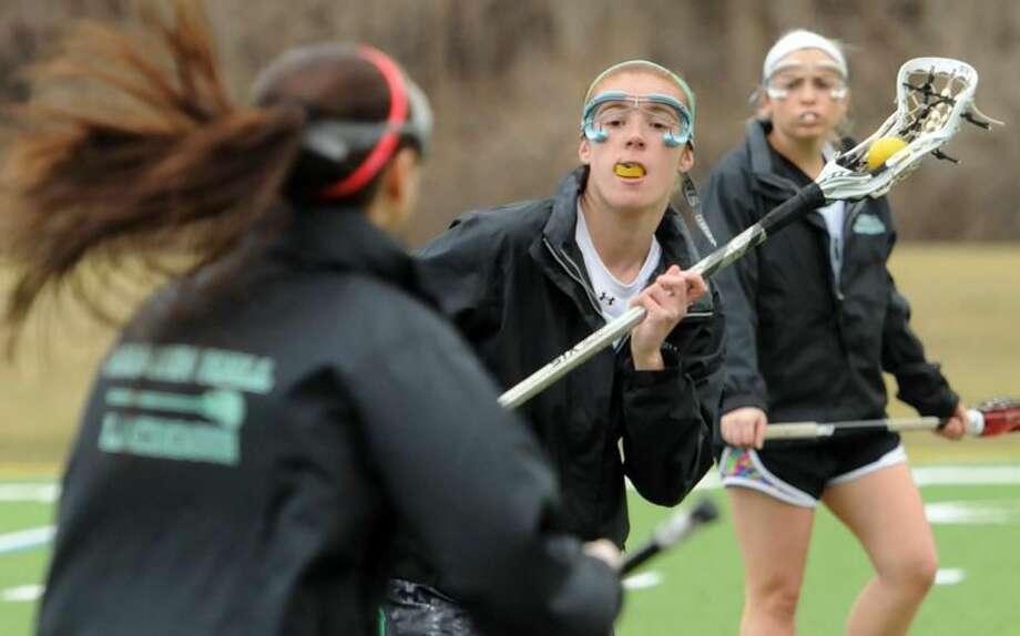 Hamden Hall lacrosse player Avery Giorgio of Madison. Mara Lavitt/New Haven Register3/28/13