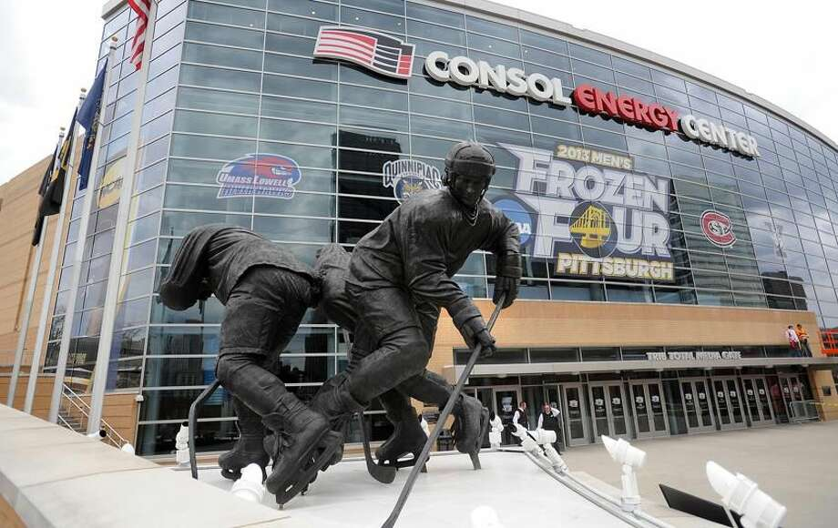 "Pittsburg, PA— The outside of the Consol Energy Center, where Quinnipiac and Yale will both play Thursday in the final ""Frozen"" Four. Photo-Peter Casolino/Register pcasolino@newhavenregister.com"