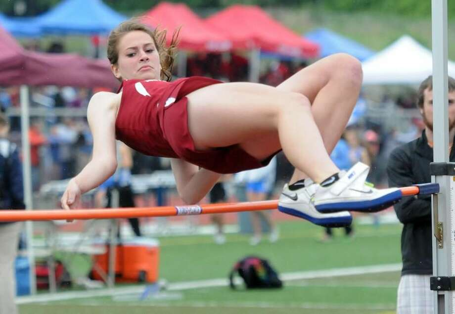 Middletown High School, Class L track meet. North Haven's Emi Kanyo came in fourth in high jump. Mara Lavitt/New Haven Register mlavitt@newhavenregister.com5/28/13