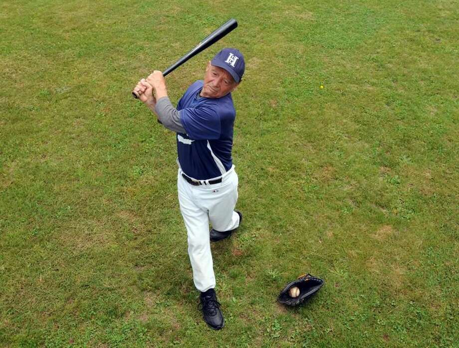 Ralph Franco of North Branford will be 75 at the end of May, and plays baseball with the East Haven Jor'els. Mara Lavitt/New Haven Register mlavitt@newhavenregister.com5/23/13