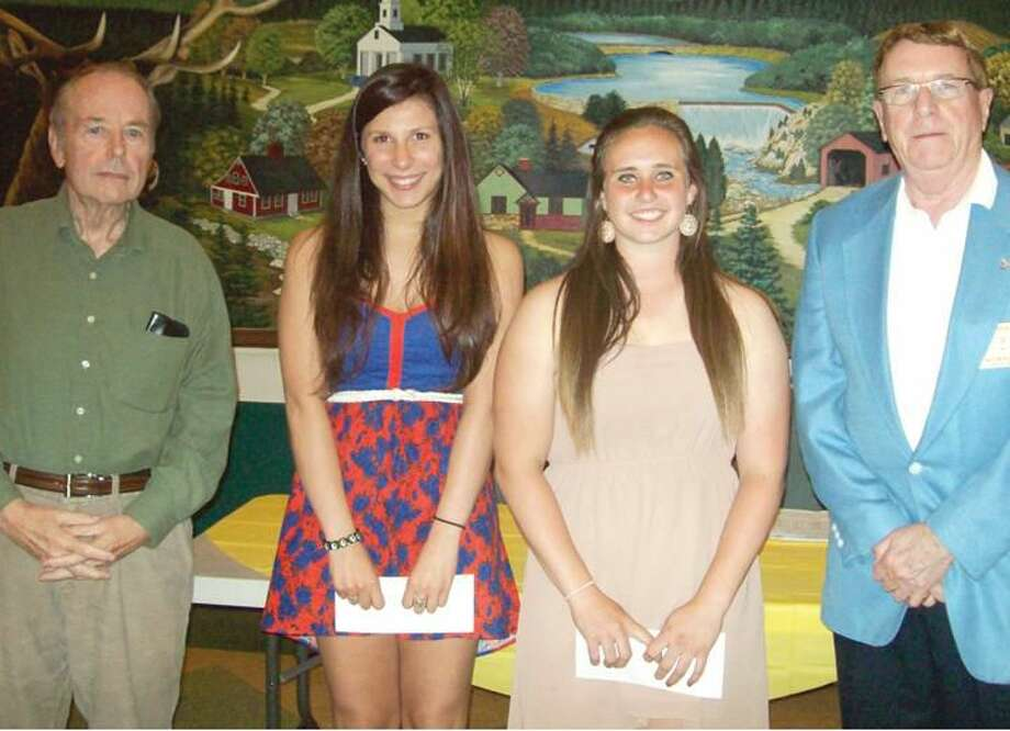 Submitted Photo Shown with Lodge Scholarship Chair Neil Colwell and Lodge President Alton Hudson are Chandler Elizabeth Caso, granddaughter of Ed Caso who attends Cheshire High School, and Madelyn Nicole Festa, granddaughter of member Fred DeAmbrose, who attends Trumbull High School.