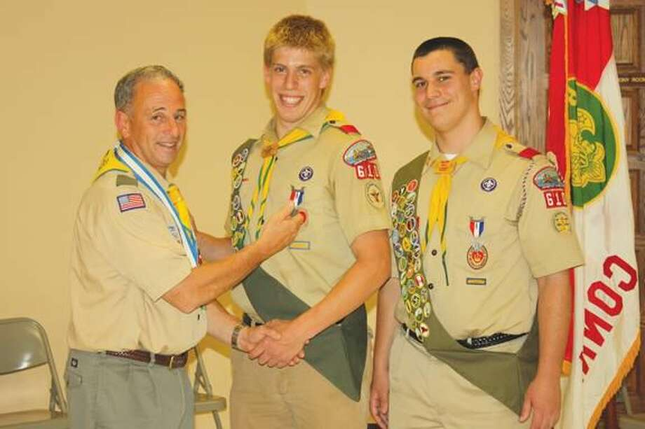 Submitted Photo Left to right, Scoutmaster Bill Earley with Eagle Scouts Jeremi Yakerson & Sam Gaidish.