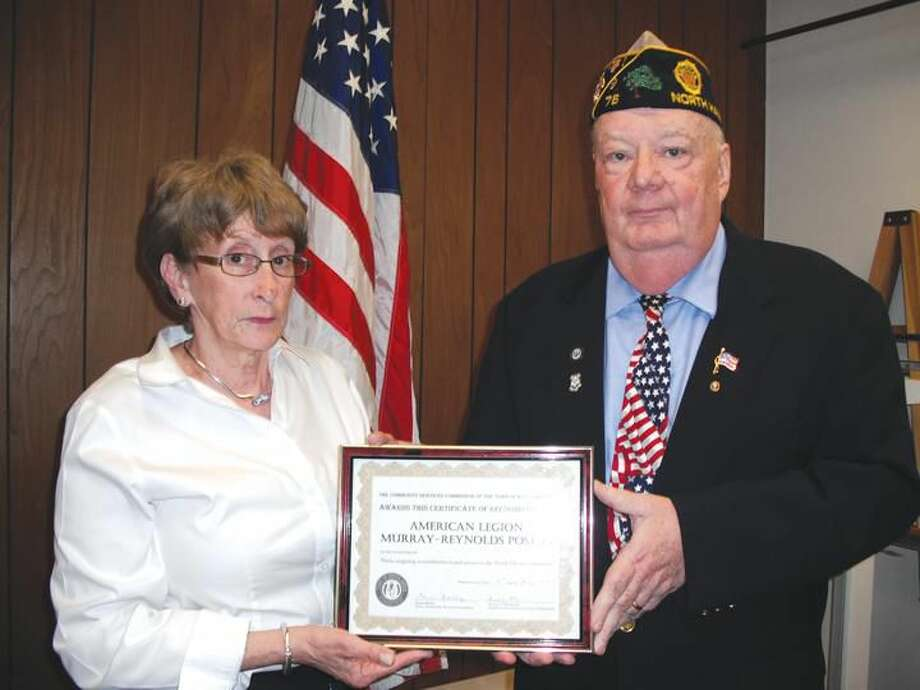 Submitted Photos Pictured from left to right, Community Services Commission Chair Donna Malley presenting the first annual Certificate of Recognition to Dan Riccio, Jr. on behalf of the American Legion Post#76, as organization award recipient. Awarded for Their ongoing contributions and service to the North Haven community.
