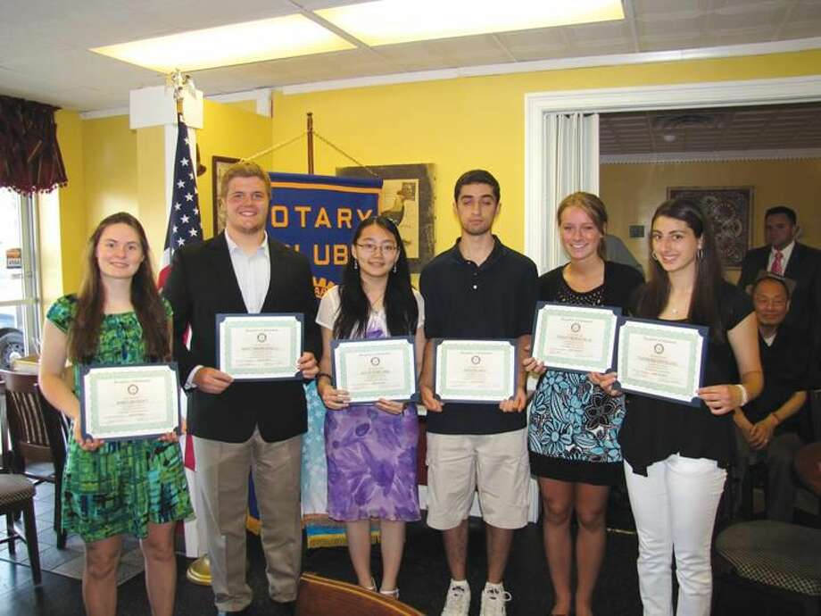 Photo courtesy of David Marchesseault & George Guertin, Rotary PR Committee These North Haven High School Seniors received Rotary scholarships at the Breakfast Nook Restaurant recently. Pictured left to right are: Amelia Hoyt, Matthew Marcarelli, Julie Cheung, Aria Elahi, Tracy Buechele, and Theresa DeFalco.
