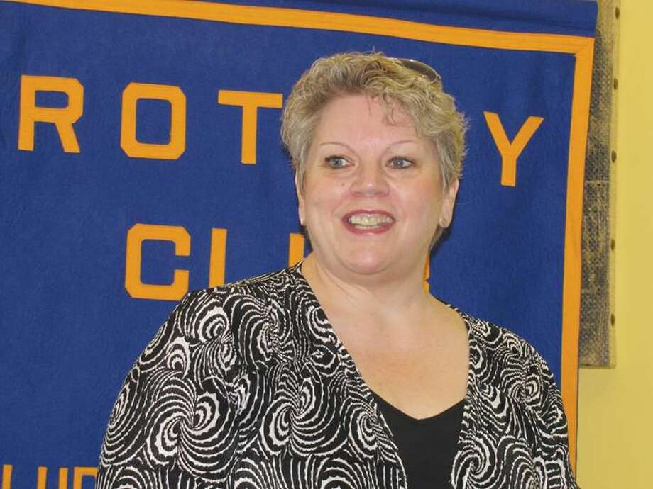 Submitted Photo Cheryl Trzcinski, President of Master's Manna, Inc., addressed the North Haven Rotary Club at the Breakfast Nook Restaurant earlier this summer.