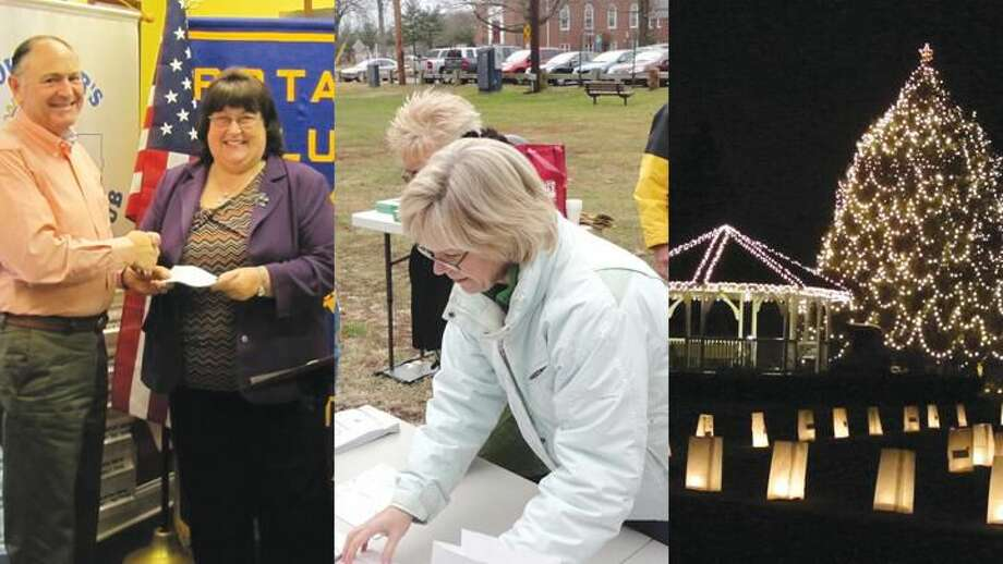 Submitted Photos Courtesy of David Marchesseault Left: Rotarian David Marchesseault presents check to Mary Lou Stamp, Education Foundation VP. Center: Event chairwoman Joan Genest lays out the pattern for the luminaries on the green. Right: Photo of the gazebo and tree on the green was taken by Joan Genest the night of Dec. 8, hours after the town festivities.