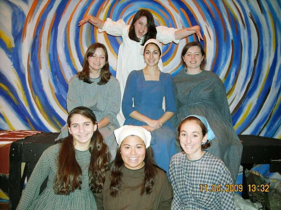 """Submitted Photo """"Fiddler on the Roof"""" cast includes Rosy Cersonsky, of Oxford (top); Danielle Szymaszek, of Meriden; Emilia D'Albero, of North Haven; and Katlyn Rapini, of Hamden (middle row); and Jamie Rose Bukowski, of Shelton; Olivia Beaullan, of Hamden; and Erin Shaw, of Wallingford (bottom row)."""