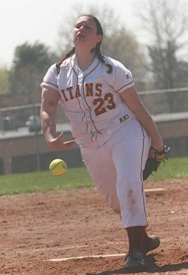 Sheehan's Dani Thuerling delivers a pitch in a game played last season. The Titans opened the 2010 campaign with a 4-3 loss to Guilford but bounced back to post its first win over Mercy-Middletown in years. It was also new coach Jocelyn Chang's first victory. (File photo by Russ McCreven)