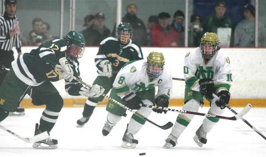 Photo by Russ McCreven Hamden's Justin MacGregor tries to slow down Notre Dame's Matt Merola (8) and Colby Cretella (10).