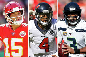 Patrick Mahomes, Deshaun Watson and Russell Wilson are pictured together in this composite photo.