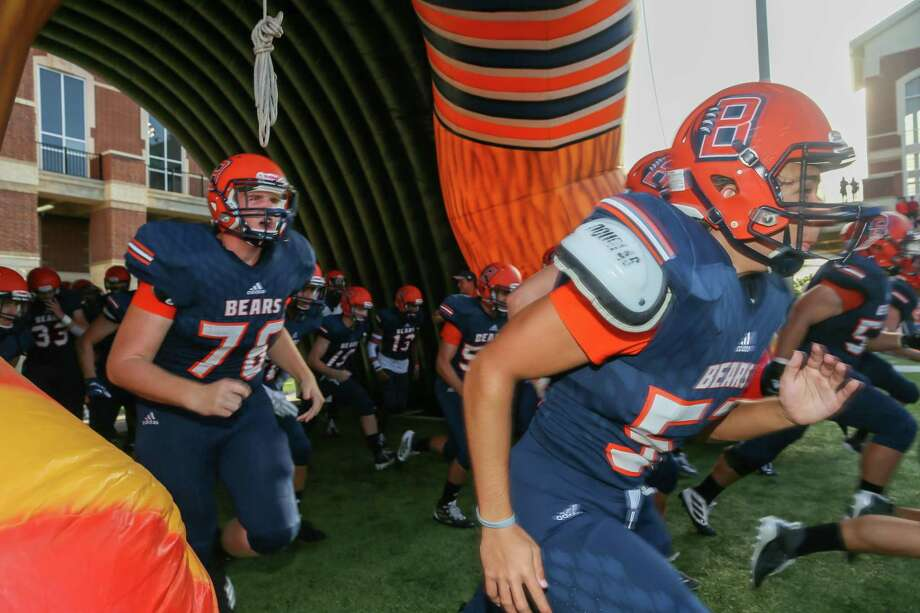 Bridgeland players enter the field during the of a high school football game, Saturday, Sept. 21, 2019 in Cypress, TX. Photo: Leslie Plaza Johnson, Freelancer / Contributor / Houston Chronicle