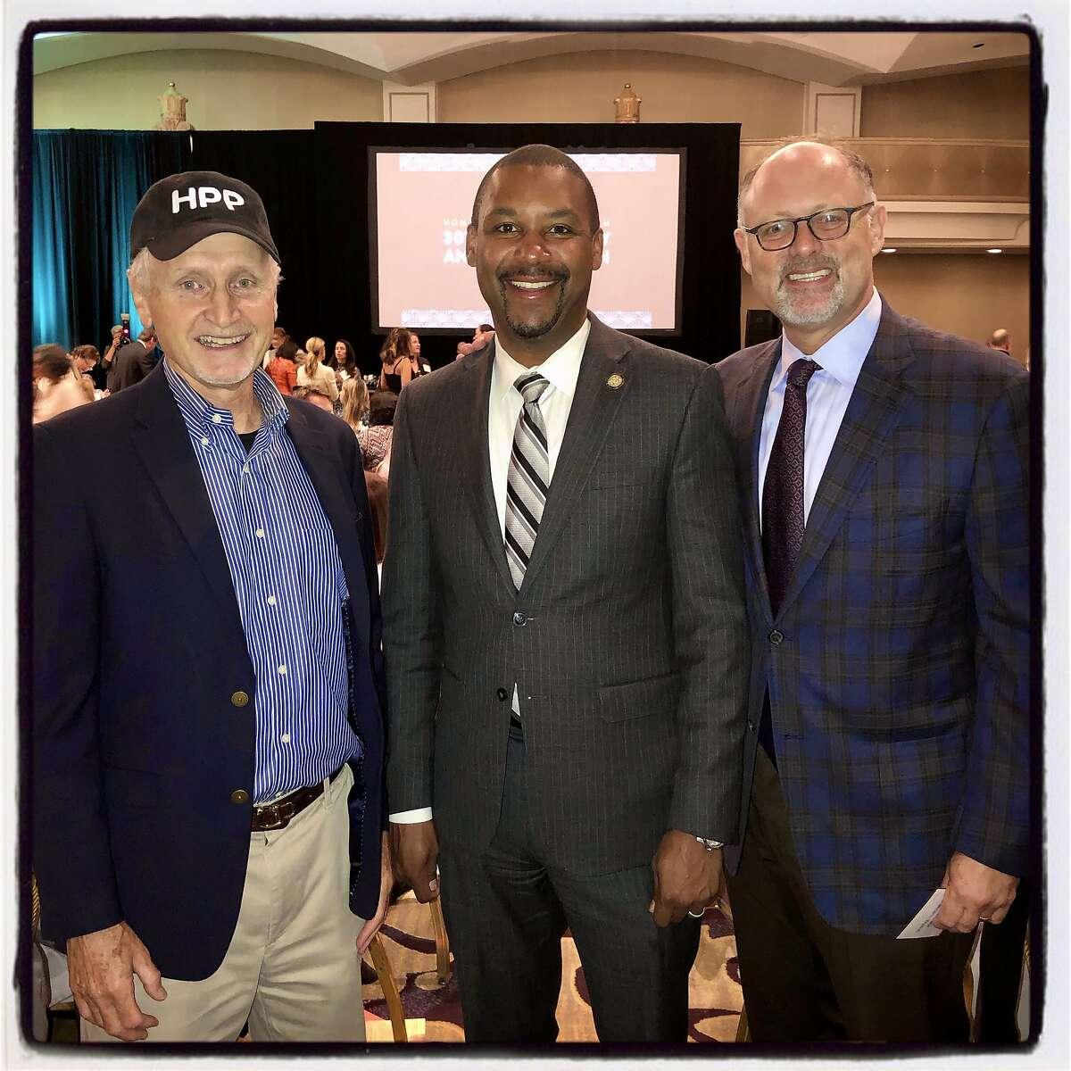 Homeless Prenatal Board President John Koeppel (left) with Supervisor Shamann Walton and board member Jonathan Moscone. Sept. 27, 2019.