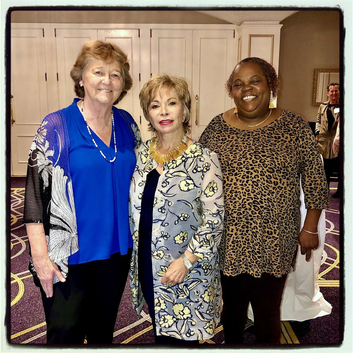 Homeless Prenatal founder Martha Ryan (left) with author Isabel Allende and honoree Ramona Woodruff-Benson. Sept. 27, 2019.