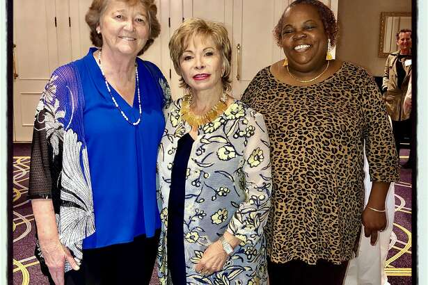 Homeless Prenatal founder Martha Ryan (left) with author Isabel Allende and honoree Ramona Woodruff-Benson. Sept. 27, 2019.