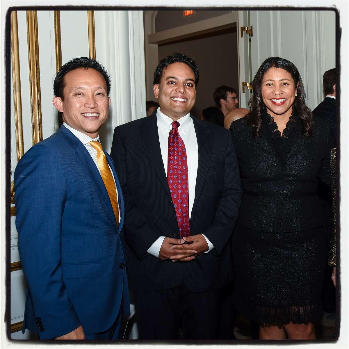 Assemblyman David Chiu (left) with Shanti Director Kaushik Roy and Mayor London Breed. Oct. 3, 2019.
