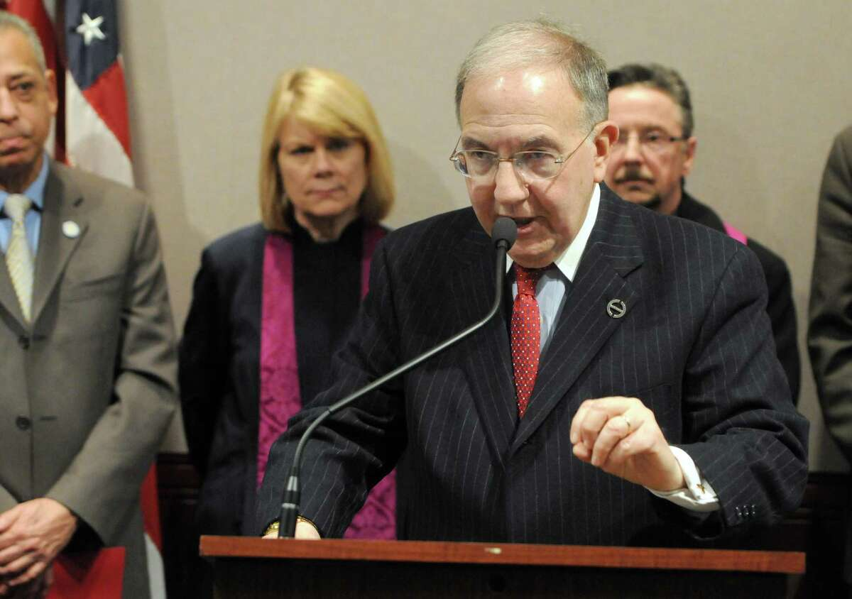 State Sen. Martin Looney speaks at a press conference.