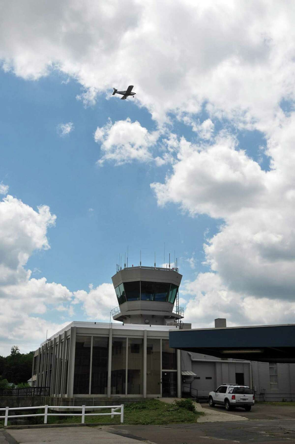 A small plane takes off from Tweed New Haven Airport.