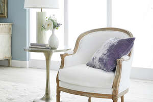 Wisteria's Large Upholstered Linen & Oak Bergere Chair - $799