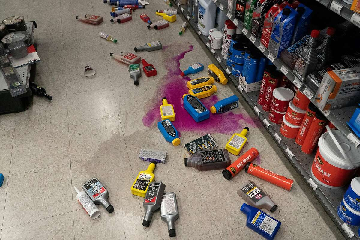 Car fluid fallen at Monument Car Parts on Tuesday, Oct. 15, 2019, in Pleasant Hill, Calif.