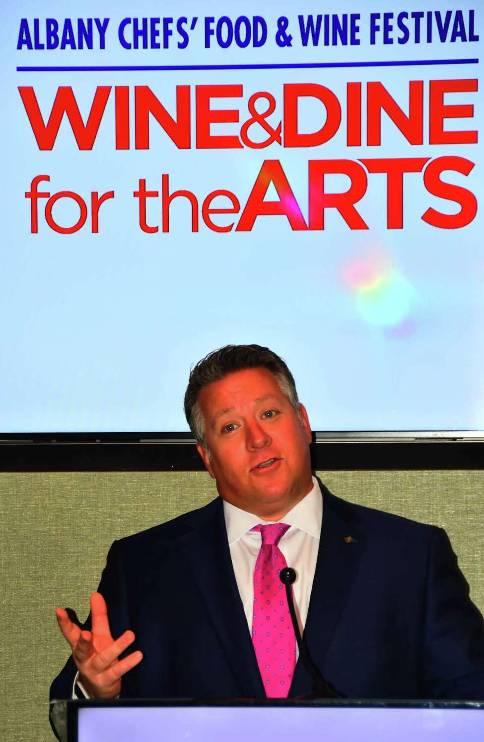 Albany County Executive Dan McCoy speaks during news conference on Tuesday, Oct. 15, 2018, at Albany Capital Center to announce details of the 2020Albany Chef's Food & Wine Festival: Wine & Dine for the Arts.
